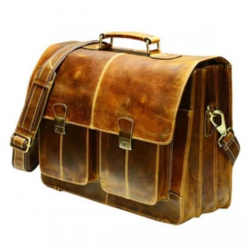 Vintage Rhodes brown real leather messenger bag