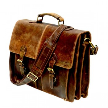 Vintage Sora Real Hunter Leather Briefcase Bag