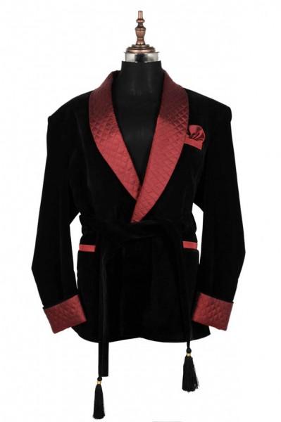 Men Black Belted Smoking Jacket Elegant Stylish Designer Party Wear Blazer Coat