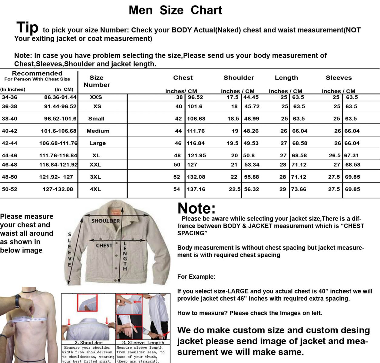 Men Size Chart For Men